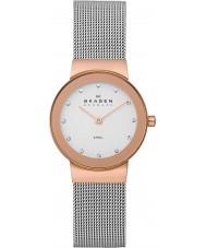 Skagen 358SRSC Panie Klassik wzrosła złoty zegarek siatka stalowa