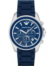 Emporio Armani AR6068 Mężczyźni matowy niebieski zegarek sportowy chronograf