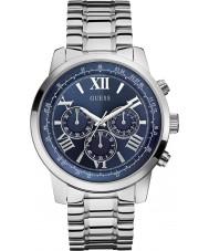 Guess W0379G3 Mężczyźni stali horyzont srebrny zegarek chronograf
