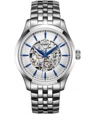 Rotary GB05032-06 Mens srebrny tonu szkielet stalowy zegarek mechaniczny