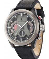 Police 14639JSBU-02 Mężczyźni Cyklon czarny skórzany pasek zegarka