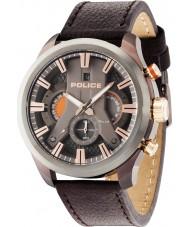 Police 14639JSBZU-61 Mężczyźni cyklon brązowy skórzany pasek do zegarka