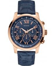 Guess W0380G5 Mężczyźni horyzont niebieskie skórzane Chronograph zegarek