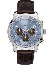 Guess W0380G6 Mężczyźni horyzont brązowy skórzany zegarek chronograf