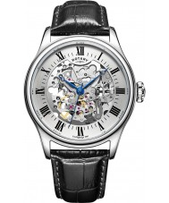 Rotary GS02940-06 Męskie zegarki srebrny czarny szkielet zegarek mechaniczny