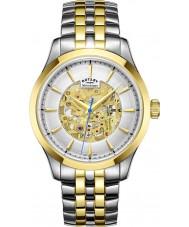Rotary GB05033-06 Mężczyźni szampana two tone pozłacany zegarek mechaniczny szkielet
