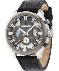 Police 14639JSTU-04 Mężczyźni Cyklon czarny skórzany pasek zegarka
