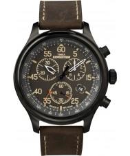 Timex T49905 Mens black brown field wyprawa zegarek chronograf
