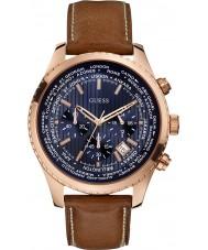 Guess W0500G1 Mężczyźni dążenie brązowy skórzany zegarek chronograf