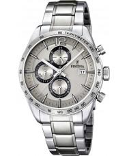 Festina F16759-2 Męskie srebrne bransoletki stalowy zegarek chronograf