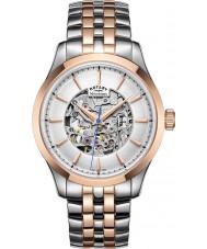 Rotary GB05034-06 Mens two tone wzrosła pozłacany zegarek mechaniczny szkielet