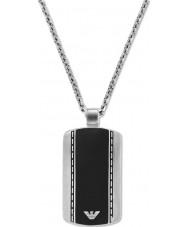 Emporio Armani EGS1921040 Mens gładki aksamitny dwa tonu stalowy naszyjnik