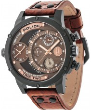 Police 14536JSB-12A Mężczyźni dodatek brązowy skórzany pasek do zegarka