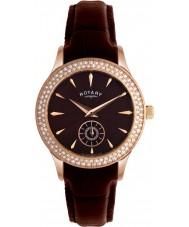 Rotary LS02907-16 Damskie Zegarki kryształy brązowy skórzany pasek i tarcza zegarka