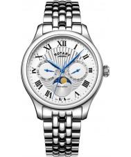 Rotary GB05065-01 zegarki męskie moonphase srebrny zegarek chronograf