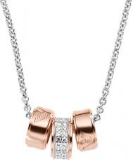 Emporio Armani EG3045040 Podpis damskie różowe złoto naszyjnik ze srebrnym łańcuchem Rolo