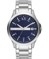 Armani Exchange AX2132 Mężczyzna niebieski strój srebrną bransoletę zegarka