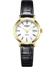 Rotary LS05303-01 zegarki damskie Windsor pozłacane czarny skórzany pasek zegarka