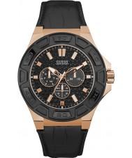 Guess W0674G6 Siła Mężczyźni czarny skórzany pasek do zegarka