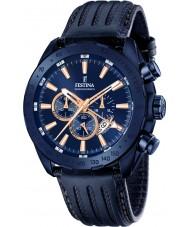 Festina F16898-1 Mężczyźni Prestige niebieskie skórzane Chronograph zegarek