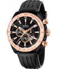 Festina F16899-1 Mężczyźni Prestige czarny skórzany zegarek chronograf