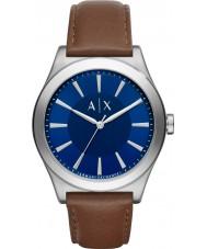 Armani Exchange AX2324 Mens Sukienka ciemnobrązowy skórzany pasek zegarka