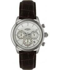 Rotary GS02876-06 zegarki męskie monaco kości słoniowej, brązowy zegarek sportowy chronograf