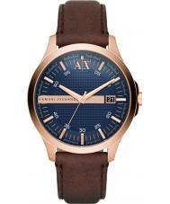 Armani Exchange AX2172 Mens Sukienka ciemnobrązowy skórzany pasek zegarka
