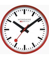 Mondaine A990-CLOCK-11SBC Czerwony metal zegar ścienny