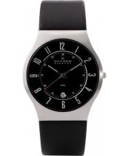 Skagen 233XXLSLB Mężczyźni Klassik czarny skórzany pasek do zegarka