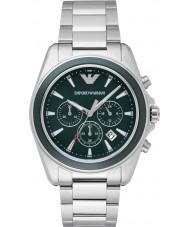 Emporio Armani AR6090 Mężczyzna zielony srebrny zegarek sportowy chronograf