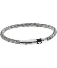 Emporio Armani EGS1623040 Mężczyźni gumowa wkładka podpisu bransoletki 2 srebro stal
