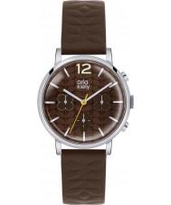 Orla Kiely OK2001 Panie Frankie chronograf ciemnobrązowy skórzany pasek zegarka