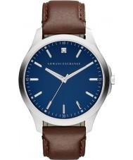 Armani Exchange AX2181 Mens Sukienka ciemnobrązowy skórzany pasek zegarka