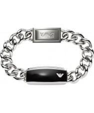 Emporio Armani EGS1729040 Mężczyźni podpis elegancka bransoletka czarna matowa id stali