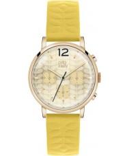 Orla Kiely OK2004 Panie Frankie chronograf żółty skórzany pasek zegarka
