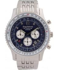 Krug-Baumen 600304DS Mężczyźni podróżnego powietrza diament srebrny zegarek chronograf
