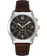 Bulova 98A142 Mens Sukienka brązowy skórzany zegarek chronograf
