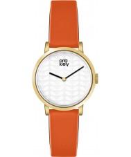 Orla Kiely OK2114 Panie Luna pomarańczowy skórzany pasek zegarka