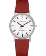 Danish Design Q19Q199 Mężczyzna czerwony skórzany pasek zegarka