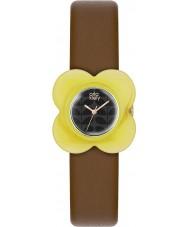 Orla Kiely OK2120 Ladies przypadku maku żółty brązowy skórzany pasek zegarka