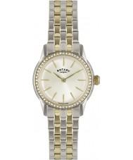 Rotary LB02571-03L zegarki damskie Verona kryształ oprawa szampana two tone zegarek