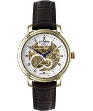 Rotary GS90506-06 Mężczyźni les originales jura automatyczne szkielet złoty zegarek