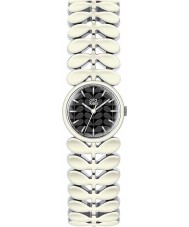 Orla Kiely OK4028 laurowy damska biała stalowa bransoletka zegarek