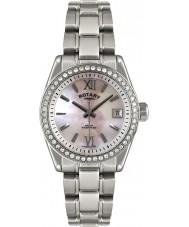 Rotary LB02660-07 Panie zegarki srebrny zegarek havana