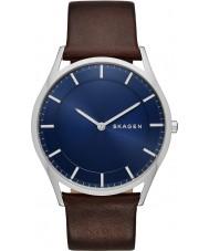 Skagen SKW6237 Mężczyźni Holst ciemnobrązowy skórzany pasek zegarka