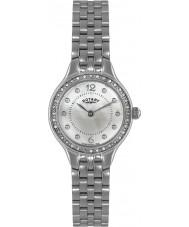 Rotary LB02866-06 zegarki damskie kamienia ustawić srebrny zegarek stalowy