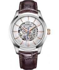 Rotary GS05032-06 Mężczyźni srebrny tonu brązowy szkieletu zegarek mechaniczny