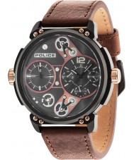 Police 14693JSB-12A Mężczyzna steampunk brązowy skórzany pasek zegarka