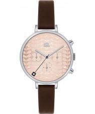 Orla Kiely OK2017 Panie bluszcz chronograf ciemnobrązowy skórzany pasek zegarka